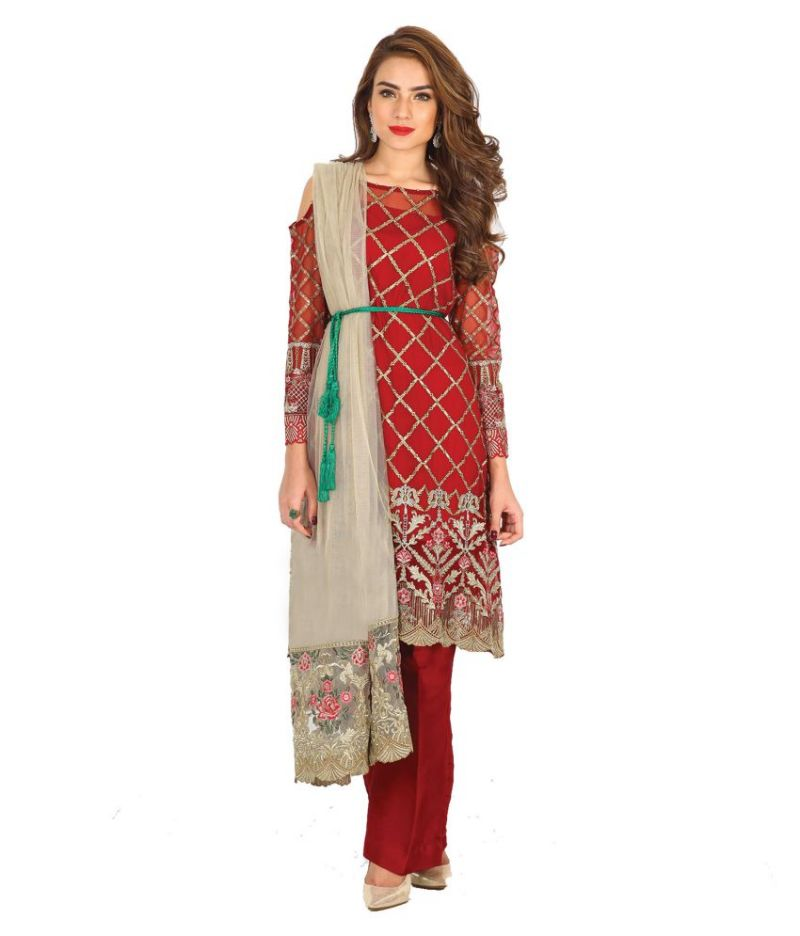 Buy Mf Retail Red Color Faux Georgette Fabric Embroidered Semi Stitched Designer Salwar Suit (product Code - Zarqash_01) online