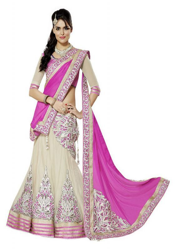 Buy Metroz Designer Cream And Pink Georgette Embroidered Lehenga Choli - Astrd405 online