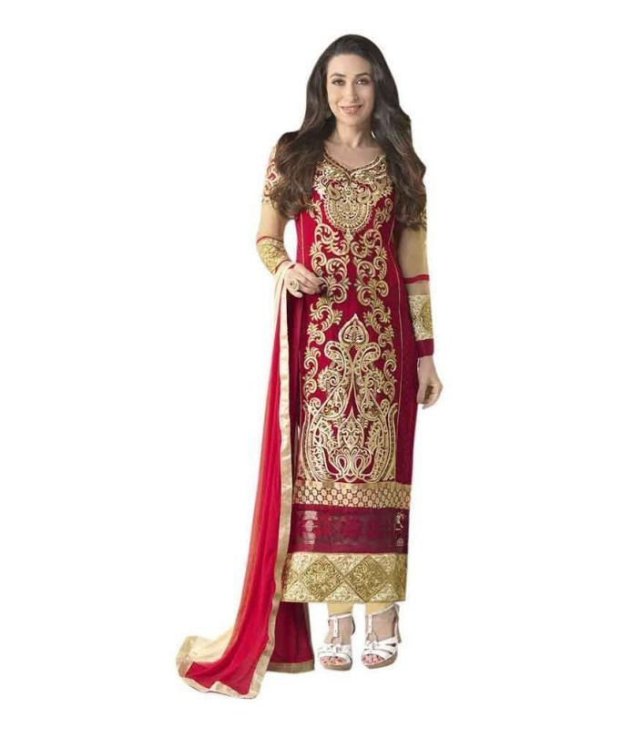 Buy Bikaw Embroidered Red And Beige Georgette Party Wear Semi-stitched Suit-rs_hfc_krishma Gold_1 online