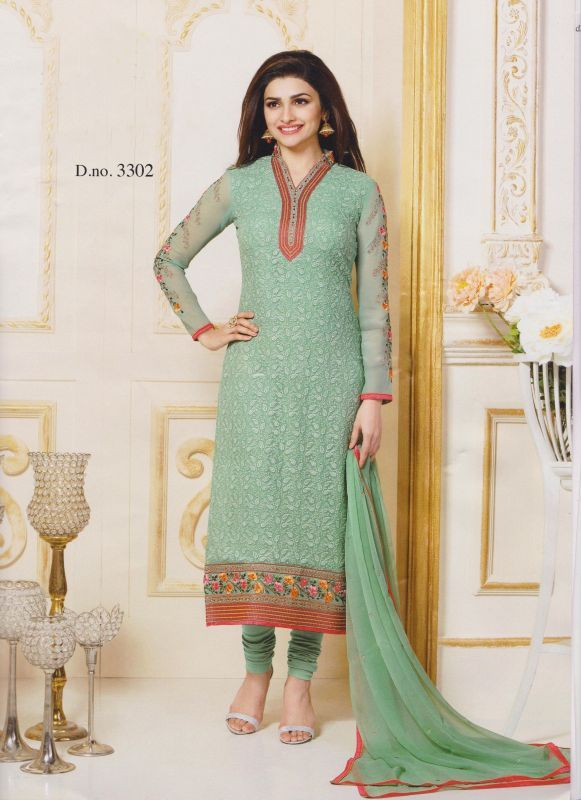 Buy Vs Fab Green Georgette Embroidered Dress Material online