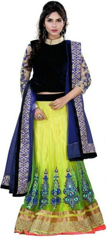 Buy Pramukh Group Net Desingned Blue And Yellow Lahenga online