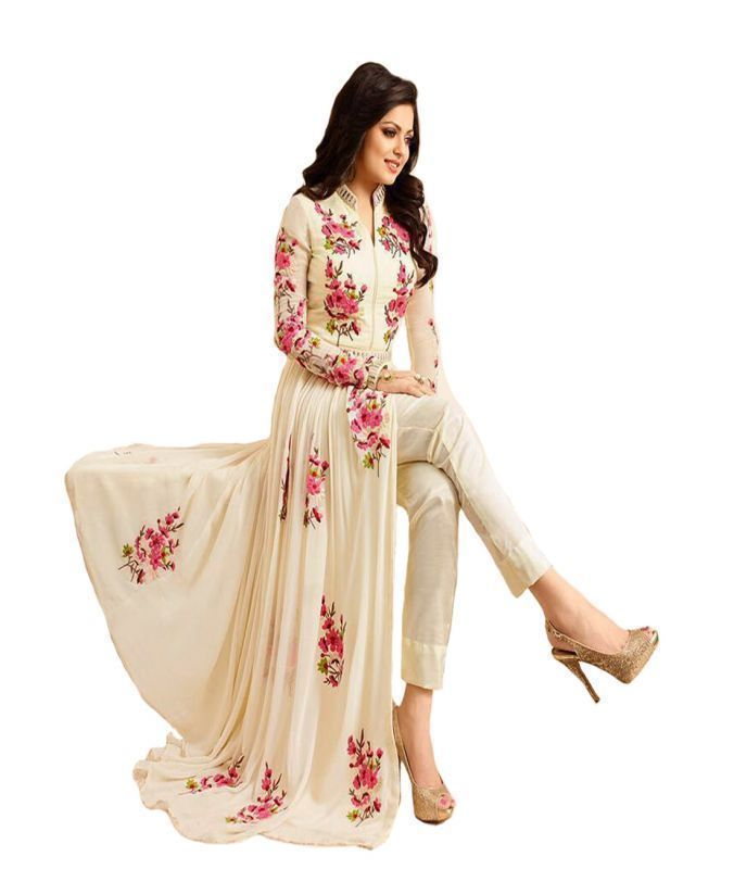 Buy Metroz Beige Georgette Anarkali Salwar Suit With Dupatta - Astrd408 online