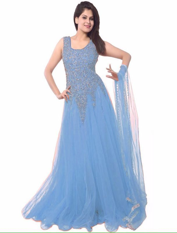 Buy Thankar Latest Designer Heavy Light Blue Partywear Gown online