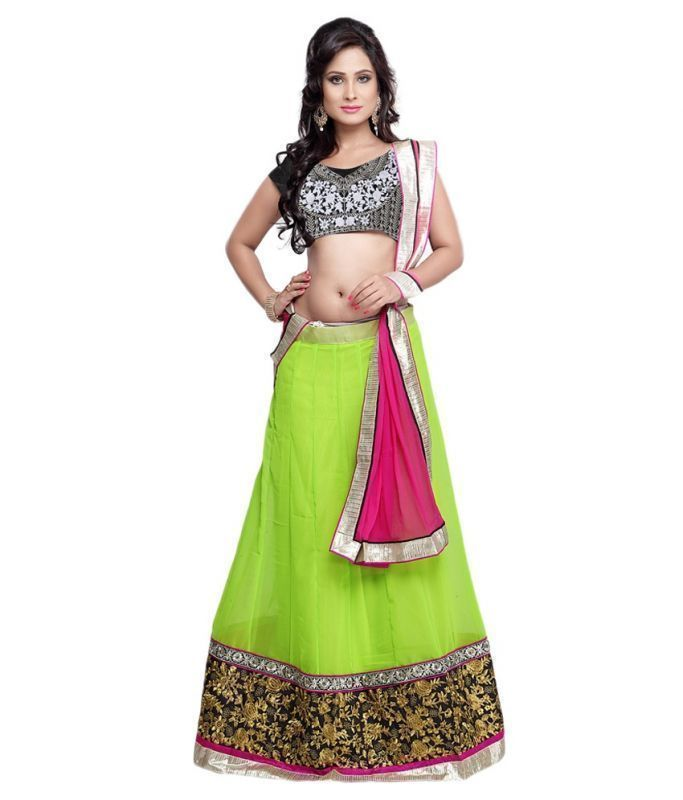 Buy Fabfiza Light Green And Pink Georgette And Net Designer Lehenga Choli online