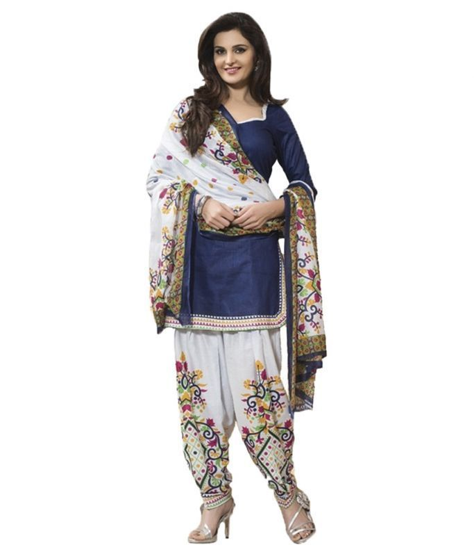 Buy Sargam Fashion Embroidered Blue Cotton Fashion Patiyala Style Casual Wear Semi-stitched Suit online