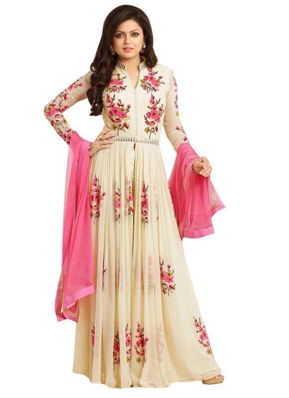Buy Prayosha Enterprise White Color Folwer Anarkali Suit, Pys167st16006 online