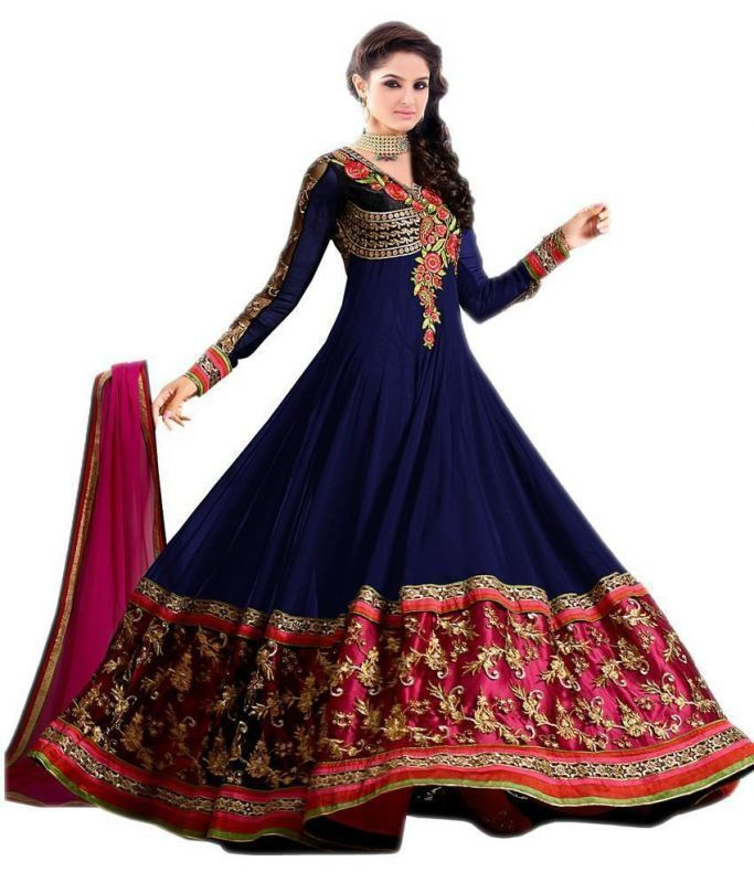 Buy Bikaw Embroidered Blue And Pink Georgette Party Wear Semi-stitched Suit online