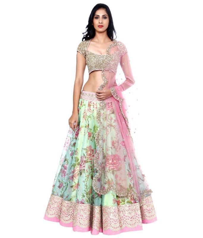 Buy Riti Riwaz Bhagalpuri Silk & Net Zari Embroidered Multicolor Lehanga Choli online