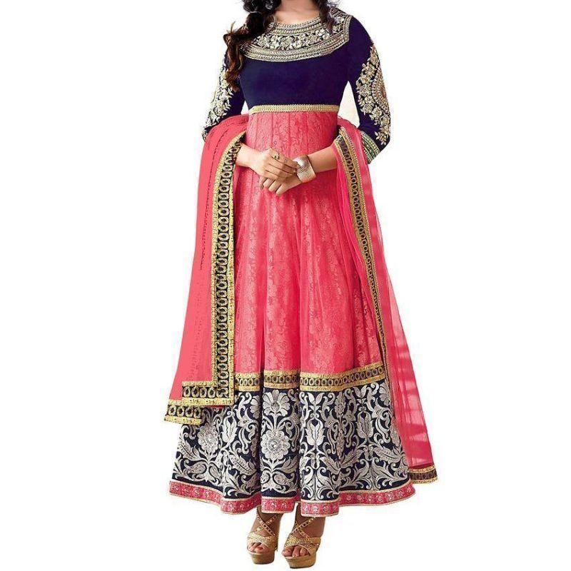 Buy Kia Fashions Mahi Pink Georgette Color Anarkali Dress online