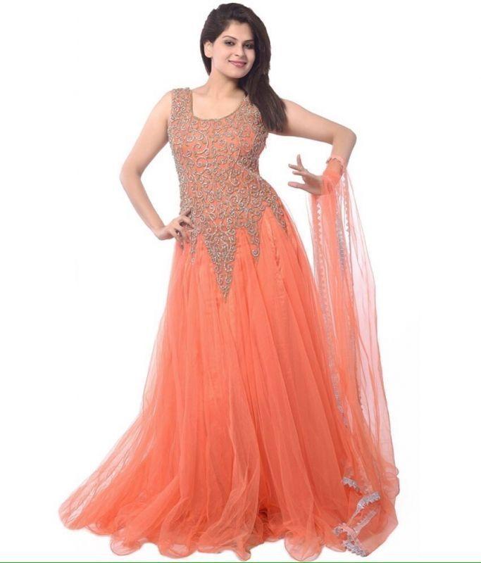Buy Kia Fashions Orange Color Designer Dress online