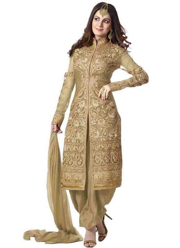 Buy Isha Enterprise Cream Designer Patiala Style Salwar Suit online