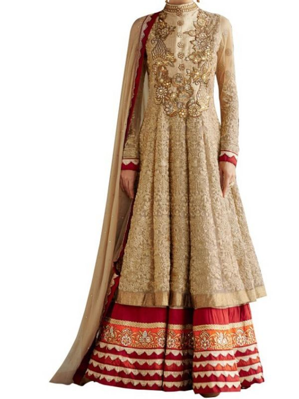 Buy Women's Gold Georgette Raw Silk Anarkali Dress Salwar Suit Ufs1036 online