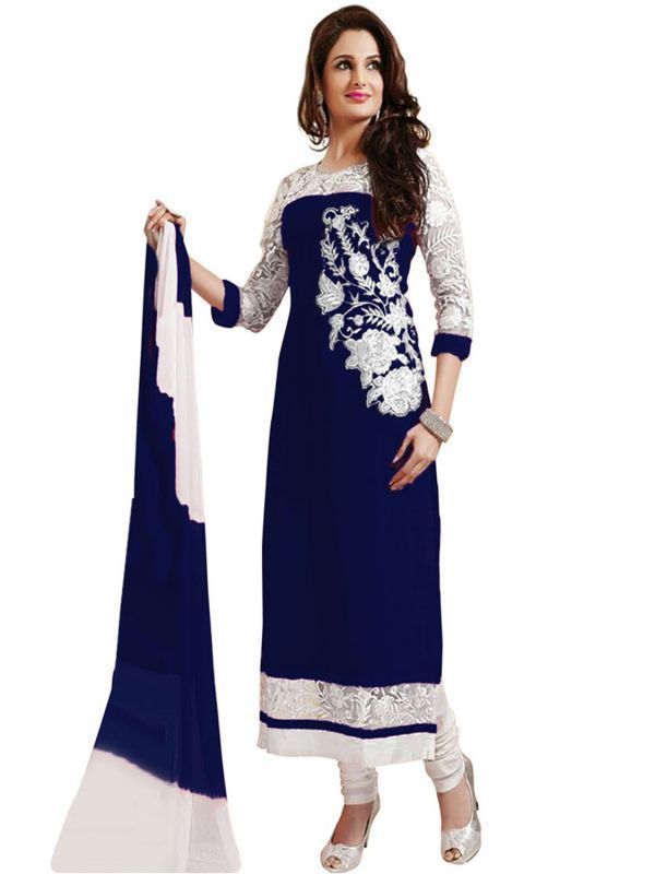 Buy Women's Blue Georgette Raw Silk Anarkali Dress Salwar Suit Ufs1074 online