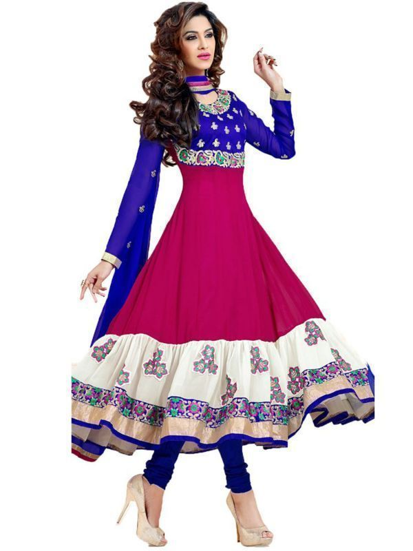 Buy WoMens Blue Net Raw Silk Party Wear Anarkali Dress Salwar Suit online