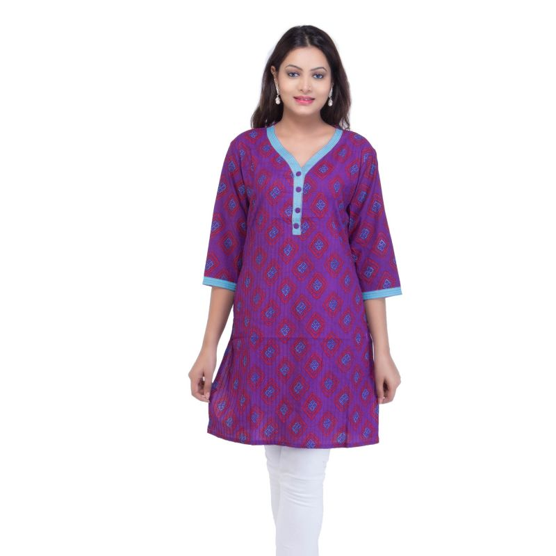 Buy Mystique India Purple Half Sleeve Round Neck Cotton Kurti For Women online