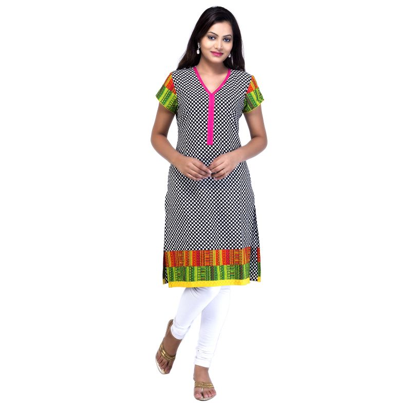 Buy Mystique India Multi-coloured Full Sleeve V-neck Cotton Kurti For Women online