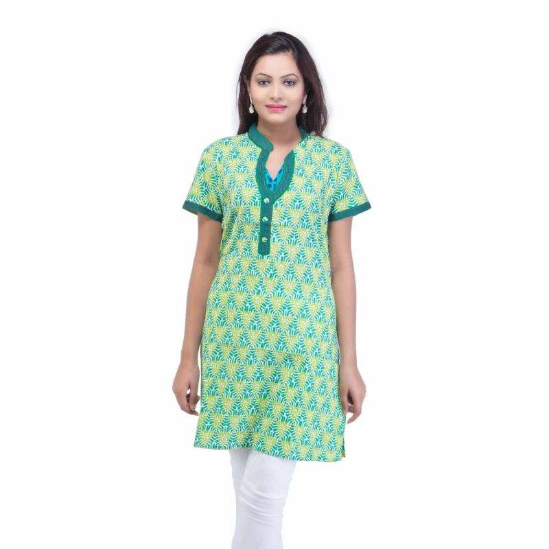 Buy Mystique India Green Half Sleeve Chinese Collar Cotton Kurti For Women online