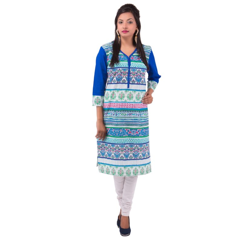 Buy Mystique India Blue Floral Print Women Kurti online