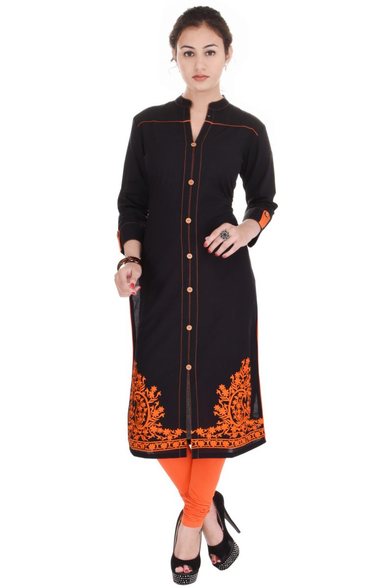 Buy Mystique India Orange Embroidered Cotton Women Kurti online