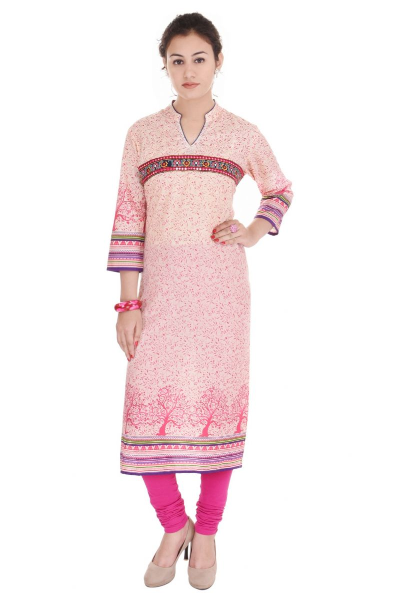 Buy Mystique India Pink Floral Print Cotton Women Kurti online