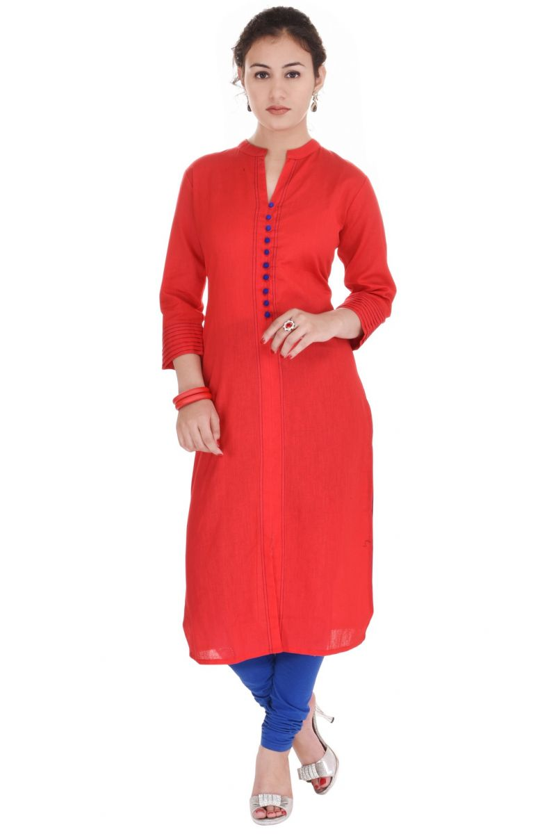 Buy Mystique India Red Solid Cotton Women Kurti online
