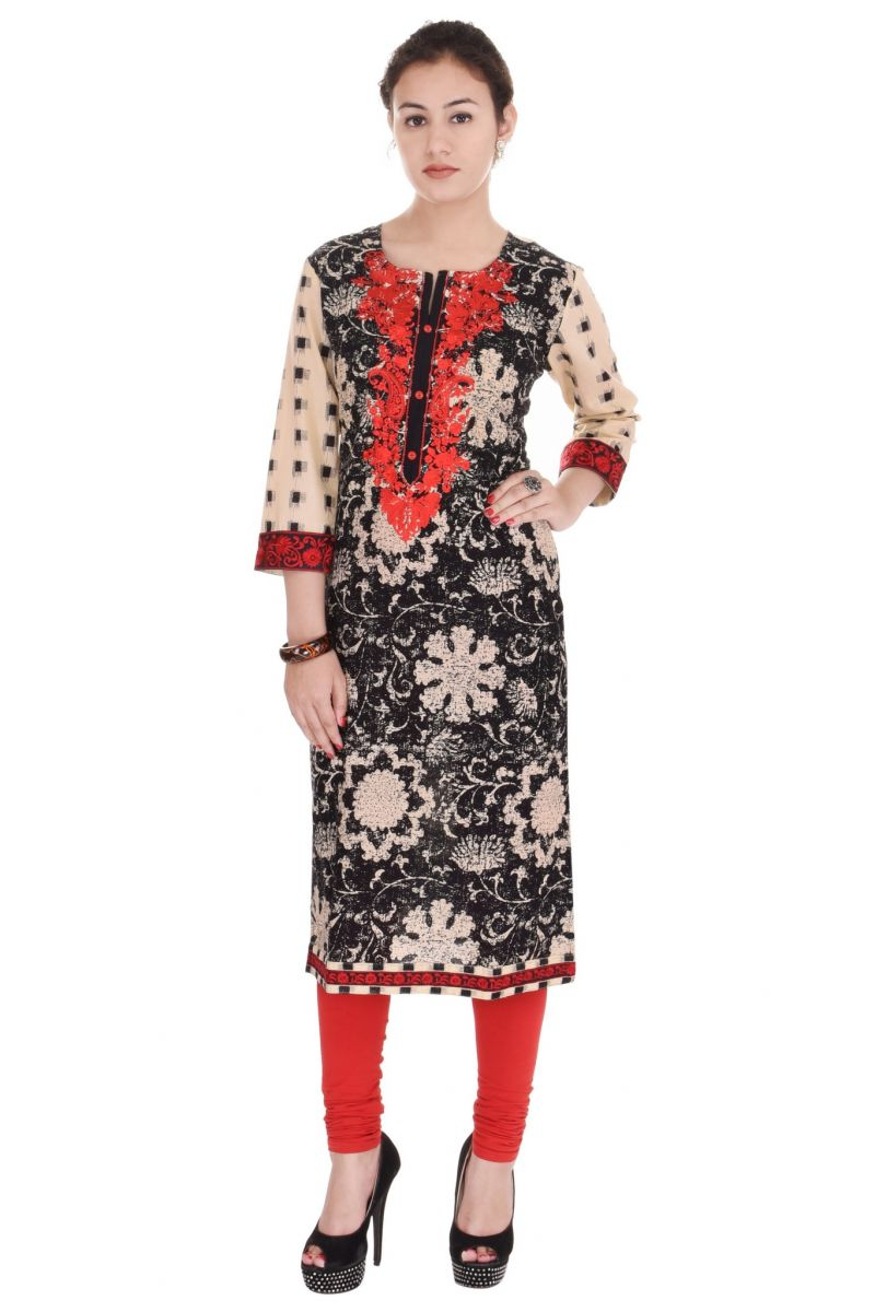 Buy Mystique India Black, Beige and Red Embroidered Cotton Women Kurti online