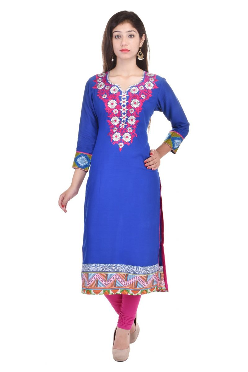 Buy Mystique India Royal Blue Embroidered Viscose Women Kurti online