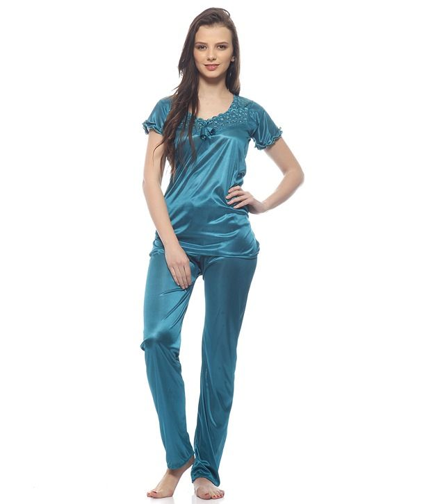 Buy Glambing Turquoise Nighty For Women online