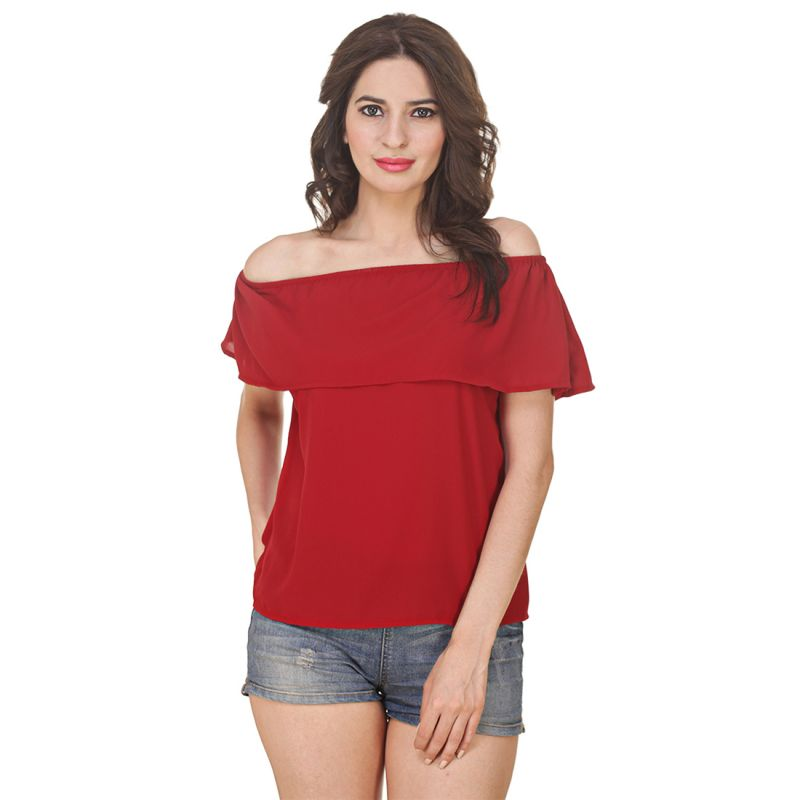 Buy Jollify Women's Maroon Georgette Off Shoulder Top(product Code - Ysredfrilloffshoulder-) online