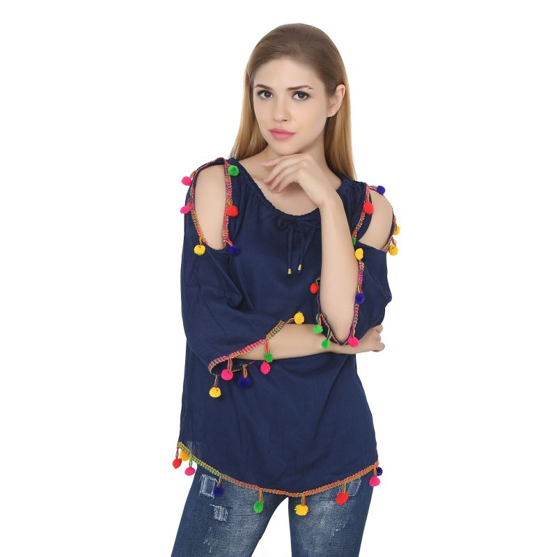 Buy Jollify Womens Blue Rayon Cut Shoulder Embroidered Top (product Code - Bluepompomcutshoulder-) online