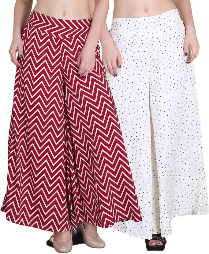 Buy Jollify Regular Fit Women's Maroon And White Plazzo (packup2)(pz002redpz06white) online