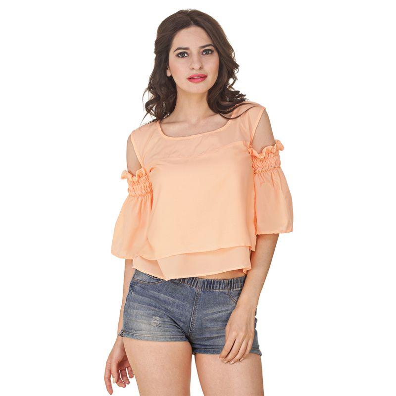 Buy Jollify Women's Peach American Crepe Cut Shoulder Top(product Code - Cutshoulderpeach-) online