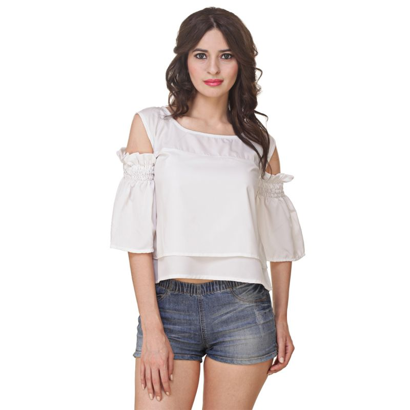 Buy Jollify Women's White American Crepe Cut Shoulder Top(product Code - Cutshoulderwhite-) online