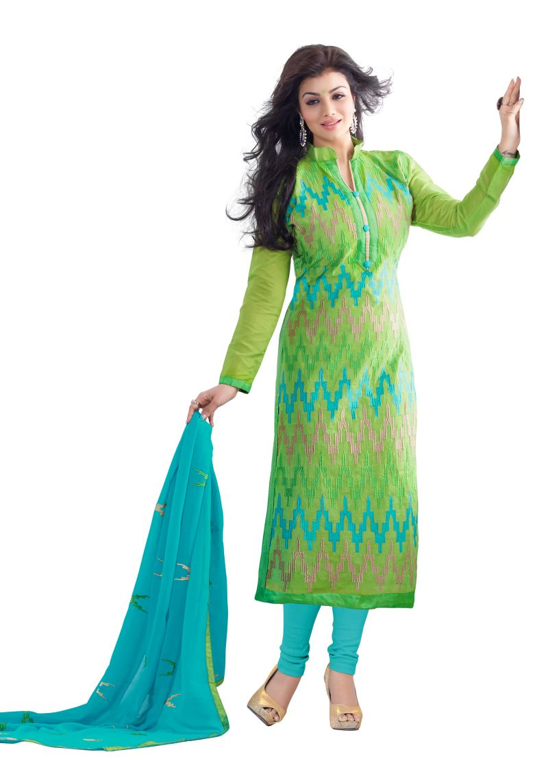 Buy Dnveens Cotton Chanderi Embroidery Partywear Unstitched Salwar Suits Dress Material For Women Nb108 online