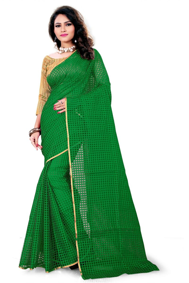Buy Aar Vee Green Cotton Weaving Designer Saree With Unstitched Blouse Dlw1037b online