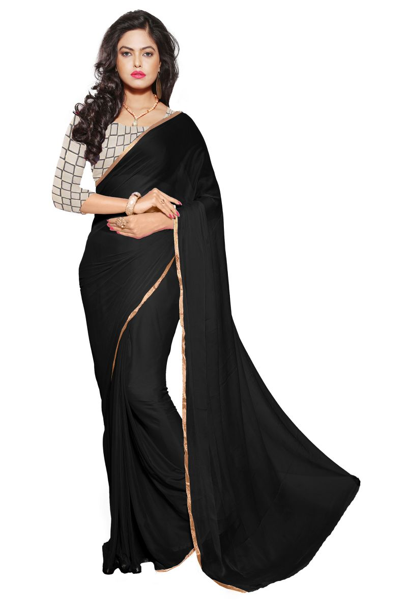 Buy Aar Vee Black Colour Nazmin Plain Saree With Net Unstitched Blouse online