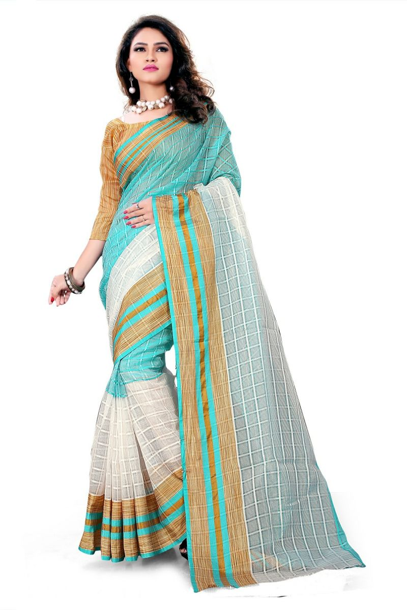 Buy Aar Vee Off White & Sea Green Cotton Weaving Designer Saree With Unstitched Blouse online