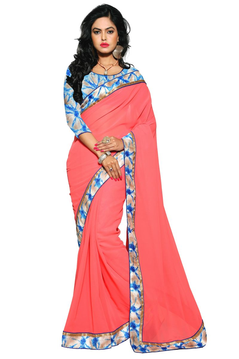 Buy Aar Vee Pink Colour Faux Georgette Saree With Unstitched Blouse Rv102 online