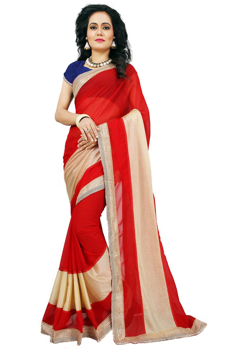 Buy Aar Vee Red Colour Embriodered Faux Georgette Saree With Unstitched Blouse online