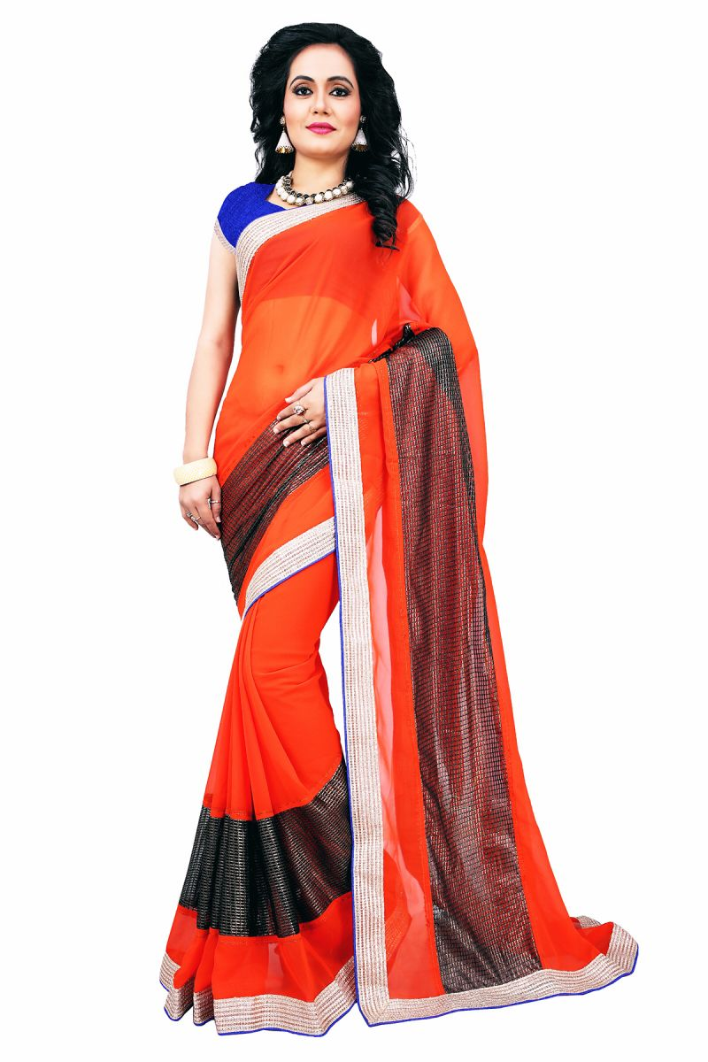 Buy Aar Vee Orange Colour Embriodered Faux Georgette Saree With Unstitched Blouse Rv107 online