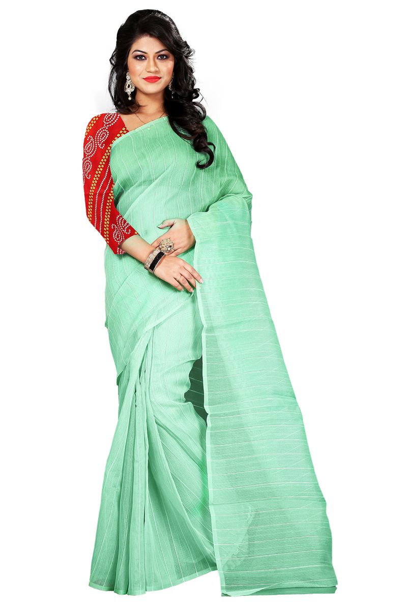 Buy Aar Vee Light Green Colour Cotton Saree With Unstitched Blouse Rv111 online