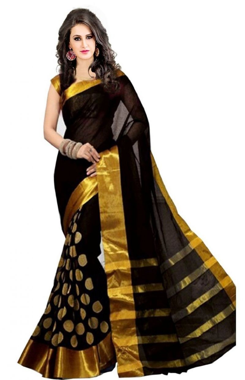Buy Aar Vee Black Cotton Silk Embroidered Saree With Matching Blouse Rvcg01 online