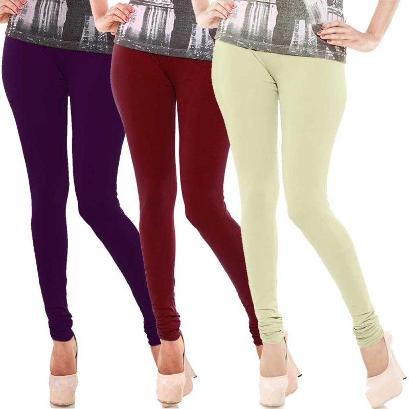 Buy Vivan Creation Women Stylish Colorful Comfortable 3 PC Cotton Churidaar Leggings Set (product Code - Dl5comb713) online