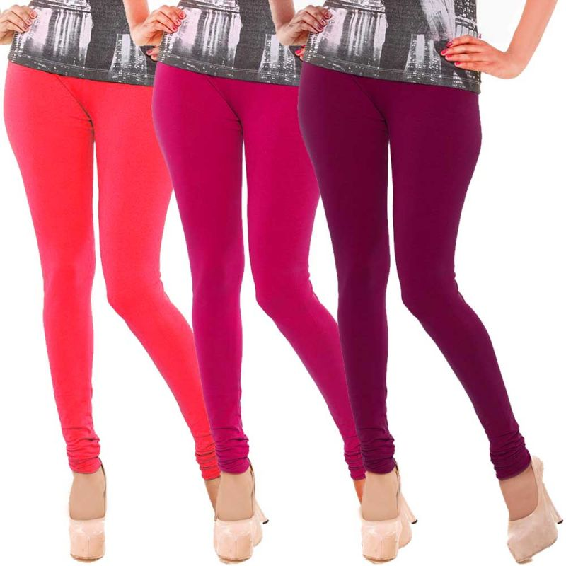 Buy Vivan Creation Women Stylish Colorful Comfortable 3 PC Cotton Churidaar Leggings Set (product Code - Dl5comb717) online