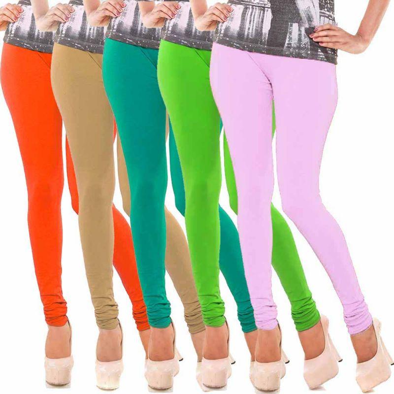 Buy Vivan Creation Women Stylish Colorful Comfortable 5 PC Cotton Churidaar Leggings Set (product Code - Dl5comb722) online