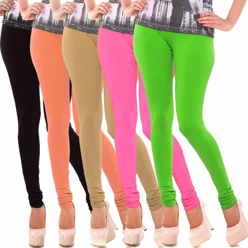 Buy Vivan Creation Women Stylish Colorful Comfortable 5 PC Cotton Churidaar Leggings Set (product Code - Dl5comb723) online