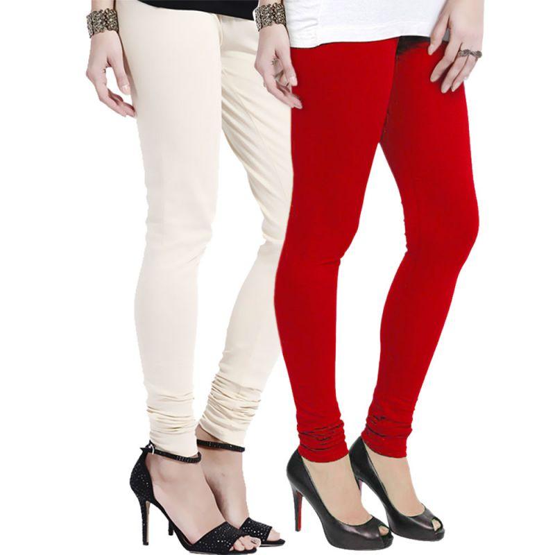 Buy Vivan Creation Stylish Comfortable N Colorful Pair Of Women Cotton Churidaar Leggings (product Code - Dl5comb731) online