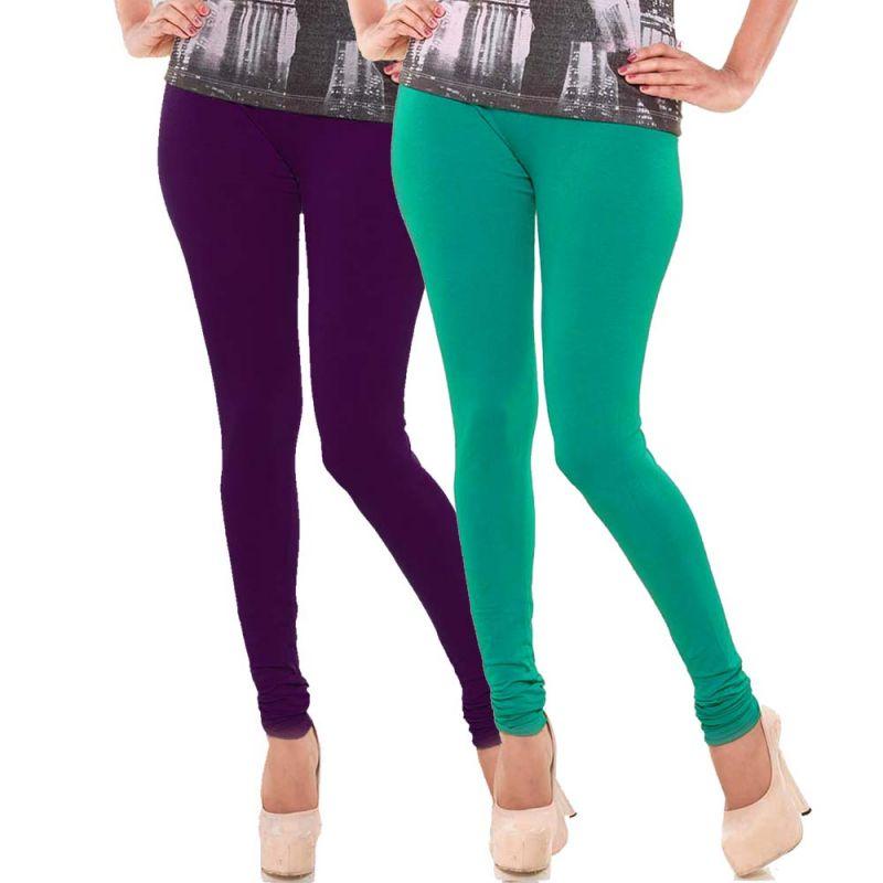 Buy Vivan Creation Stylish Comfortable N Colorful Pair Of Women Cotton Churidaar Leggings (product Code - Dl5comb739) online
