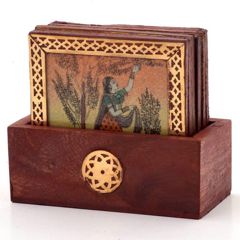 Buy Vivan Creation Gemstone Painting Pure Brass Tea Coasters Gift 112 online