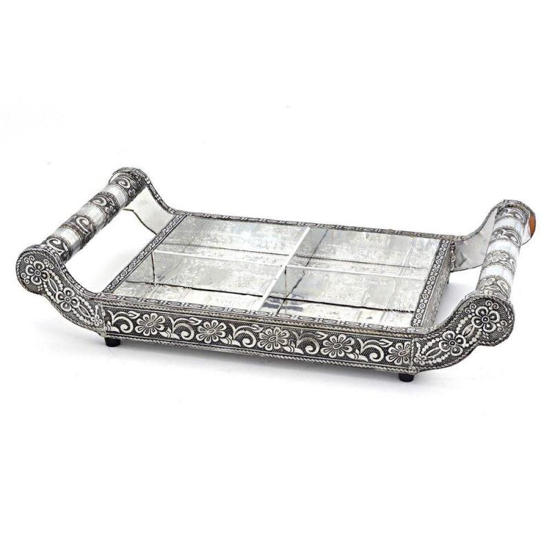 Buy Vivan Creation Pure White Metal Dryfruit Tray Handicraft Gift 113 online
